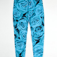 Blue Rose Print Emoji Joggers Pants