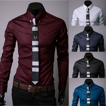 Mens Trendy Fishnet Print Dress Shirt