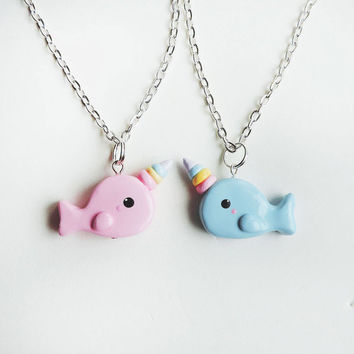 Best Friends Rainbow Horn Pink and Blue Narwhal Necklaces Set