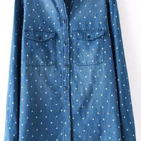 Blue Polka Dot Lapel Long Sleeve Denim Blouse