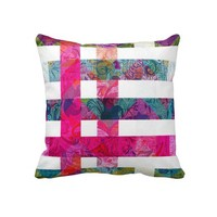 Colorful Stripes with Scoll Overlay Throw Pillows from Zazzle.com