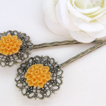 Mustard yellow flower bobby pins, bronze filigree
