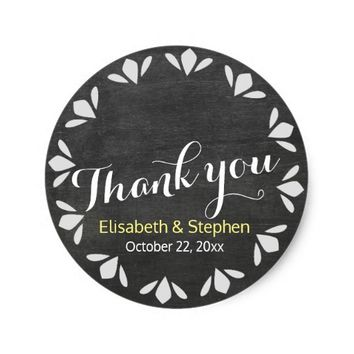 Black & White Chalkboard Floral Wedding Thank You Classic Round Sticker