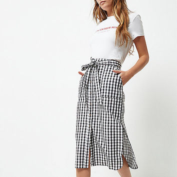 Black gingham button down midi skirt - Skirts - Sale - women