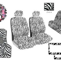 12-Piece Animal Print Automotive Interior Gift Set - 2 Universal-Fit Zebra Seat Covers, 4 Piece Floor Mats, 2 Piece LP