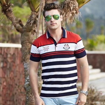 ONETOW Camisa polo homens Tace & Shark brand clothing cotton striped shark polo shirt men high quality yachting men polo hommes chemise