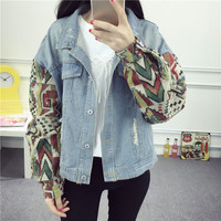 Women's Turn Down Collar Ripped Destroyed Splicing Abstract Pattern Sleeve Denim Jacket Outwear