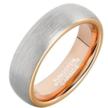 6mm Tungsten Rings Wedding Engagement Band Promise Brushed (Platinum 14k, 18k Rose Gold)