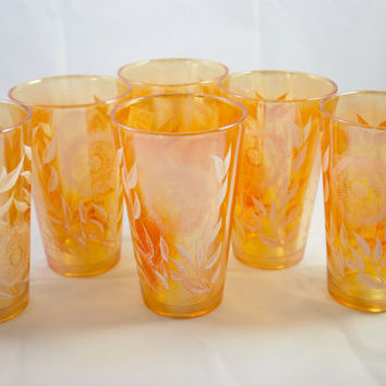 Peach Luster Glasses Jeannette Marigold Cosmos , Set of 6 Iridescent Glasses