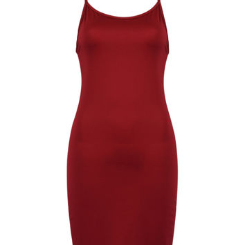Wine Red Open Back Cami Bodycon Dress