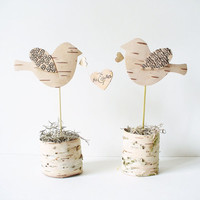 Wedding Cake Topper Birch Bark Birds Mr & Mrs by jadenrainspired