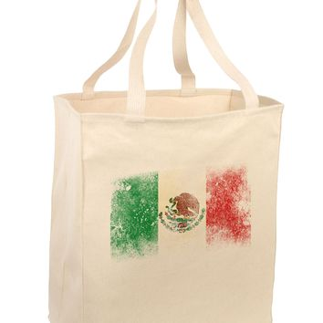 Distressed Mexican Flag Large Grocery Tote Bag