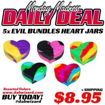 DAILY DEAL 03/30/2015 - 5x Evil Bundles Hearts Colorful Wax Silicone Jars - Assorted