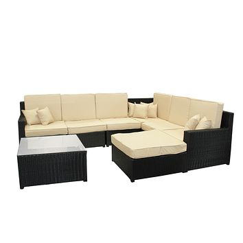 8-Piece Black Resin Wicker Outdoor Furniture Sectional Sofa Table and Ottoman Set - Beige Cushions