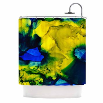 """Claire Day """"Drifting"""" Blue Green Abstract Painting Shower Curtain"""