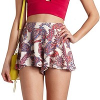 FLOWY PAISLEY PRINT HIGH-WAISTED SHORTS