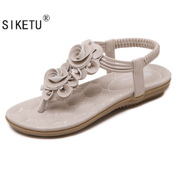 SIKETU 2017 New Sweet Beauty Sandals Bohemia Flower Sandas  Fashion Summer Shoes Women Casual Shoes Women Sandals Size 35-41