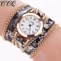 CCQ New Fashion Women Flower Watch Casual Leather Bracelet Wristwatches Women Quartz Watches 1692