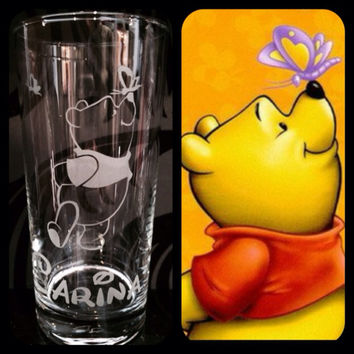 Personalised Disney Winnie The Pooh Glass With Free Name Engraved. Totally Unique Gift For Any Disney Fan!! Copy
