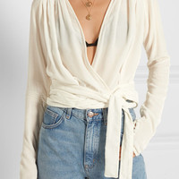 Attico - Patti velvet wrap top
