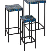 Excellent Peacock Mosaic Tables - Set of 3