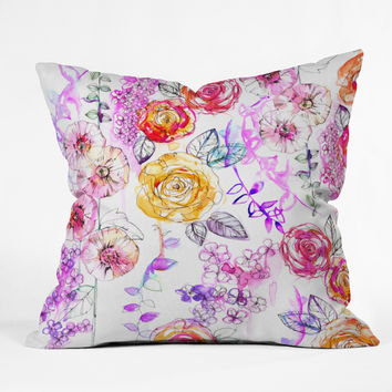 Holly Sharpe Pastel Rose Garden Throw Pillow