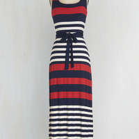 Americana Long Sleeveless Maxi Cheers on the Cape Dress by ModCloth