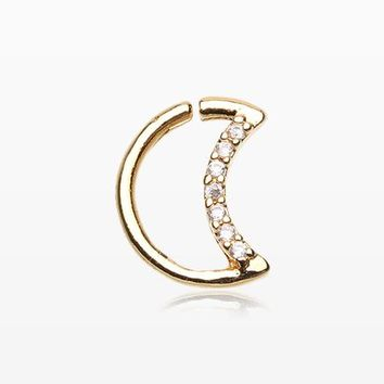 Golden Sparkle Crescent Moon Bendable Twist Hoop Ring