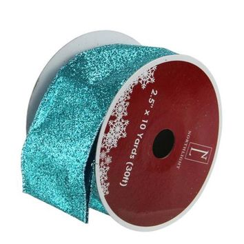 "Shimmering Teal Solid Wired Christmas Craft Ribbon 2.5"" x 10 Yards"