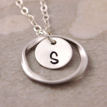Silver Eternity Necklace - initial necklace, personalized jewelry, eternity circle, friendship necklace, sisters necklace, mom necklace