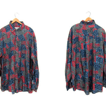 Graphic Print 90s SILK Shirt Long Sleeve Blouse Button Up Slouchy Retro Hipster Shirt Oversized Vintage Red Gray Black Blouse Mens Large