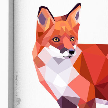 Red Fox 2, Geometric print, Original illustration, Animal print, Minimal art, Nursery wall art