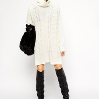 ASOS Cable Jumper Dress with Roll Neck at asos.com