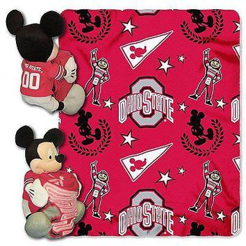 Ohio State Buckeyes NCAA Mickey Mouse Throw and Hugger Pillow Set
