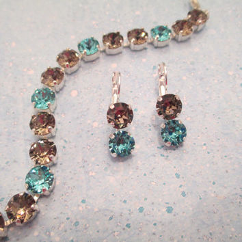 swarovski bracelet and earring set light blue and light brown # 312