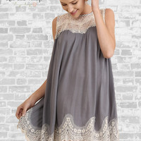 Sleeveless Lace Dress - Gray - Small only