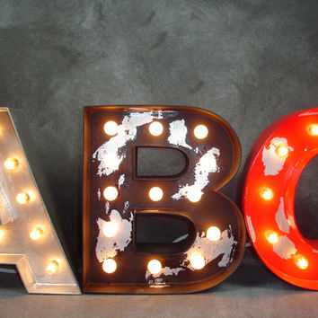 12 Custom Industrial Style Lighted Wood Letters Marquee Letter Light