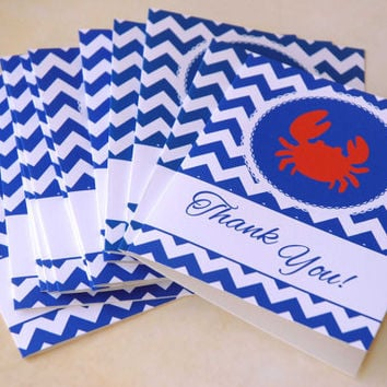 50 Nautical Baby Shower Thank You Cards + Envelopes, Chevron Thank You Notes, for Baby Boy, Crab