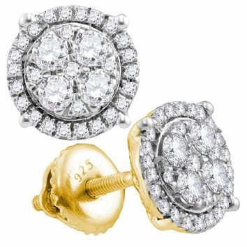 10kt Yellow Gold Women's Round Diamond Circle Cluster Earrings 3-4 Cttw - FREE Shipping (US/CAN)