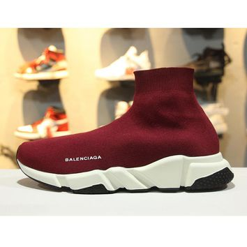 Balenciaga Speed Stretch Knit Low Slip-On Red White Black Socks Shoes - Best Online Sale