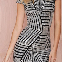 Gray Sequined Backless Dress