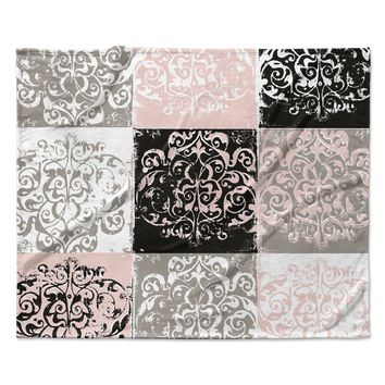"Chickaprint ""Damaskmix"" Pink Gray Fleece Throw Blanket"