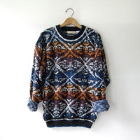Vintage Abstract Sweater. Oversized Bill Cosby Sweater
