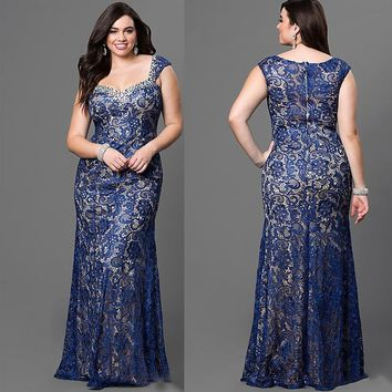 2017 new women fashion Embellished Neckline Plus Size Sleeveless Long Lace Dress