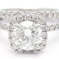 1.60ctw ROUND cut antique style diamond engagement ring & matching wedding band R135