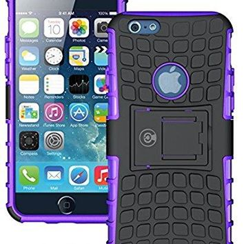 iPhone 6 Plus Case, iPhone 6/6S Plus Armor cases (6+) Tough Rugged Shockproof Armorbox Dual Layer Hybrid Hard/Soft Slim Protective Case (5.5 inch) by Cable and Case - Purple Armor Case