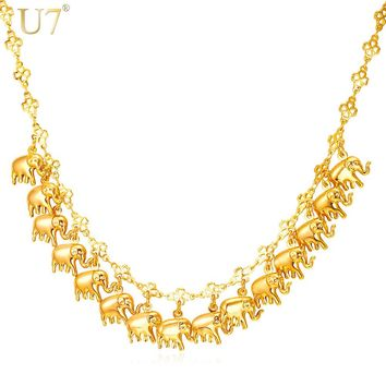U7 New Elephant Jewelry Fashion Necklaces For Women Trendy Gold Color Lucky Charm Chain Necklace Chrsitmes Gifts N566