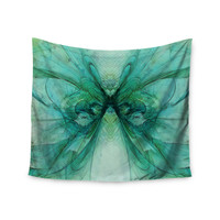 """Alison Coxon """"Butterfly Blue"""" Green Black Wall Tapestry"""