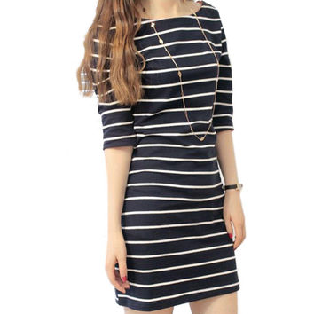 Hot 2016 new brand autumn winter dresses women clothing  High-quality striped dress office dress