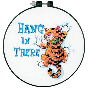 """Learn-A-Craft Hang In There Stamped Cross Stitch Kit-6"""""""" Round"""